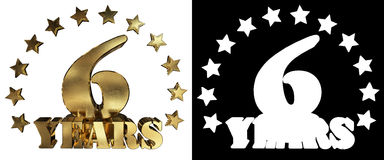 Золотое число 6 и слово года, украшенное с звездами иллюстрация 3d Стоковое Изображение RF