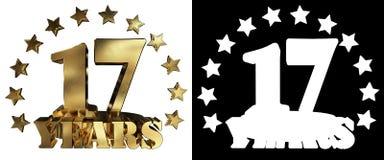 Золотое число 17 и слово года, украшенное с звездами иллюстрация 3d Стоковое Изображение RF