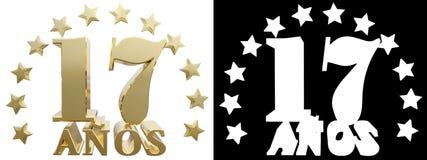 Золотое число 17 и слово года, украшенное с звездами Переведенный от испанского языка иллюстрация 3d Стоковые Изображения