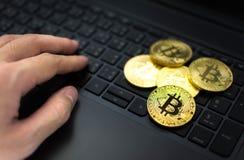 Золотое Bitcoins и рука на предпосылке клавиатуры компьютера Стоковое Изображение