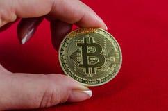 Золотое Bitcoins (цифровые виртуальные деньги) в руке на красном backgroun Стоковые Изображения RF