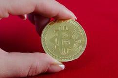 Золотое Bitcoins (цифровые виртуальные деньги) в руке на красном backgroun Стоковые Изображения
