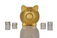 Золотое Piggybank с монетками Стоковые Фотографии RF