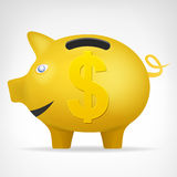 Золотое treassure свиньи в взгляде со стороны с вектором символа доллара Стоковое Изображение RF