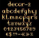 Золотой английский алфавит с номерами и символами. Стоковые Изображения
