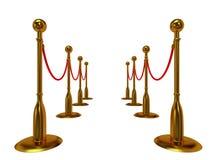 Золотой барьер веревочки над белизной Стоковое Изображение