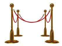 Золотой барьер веревочки над белизной Стоковые Фотографии RF