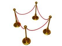 Золотой барьер веревочки над белизной Стоковые Изображения RF