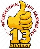 Золотой большой палец руки-вверх и дата для того чтобы отпраздновать международных левшей дня, иллюстрации вектора иллюстрация вектора