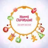 Золотой браслет шарма с шариками и шкентелями Стоковые Фото