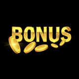 Золотой блестящий текст бонуса Стоковые Изображения RF