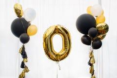 Золотой воздушный шар нул Стоковые Изображения RF