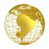 Золотой глобус планеты 3D земли Стоковая Фотография