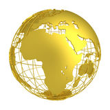 Золотой глобус планеты 3D земли Стоковые Фото