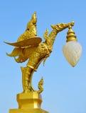 Золотой лебедь с тайским фонариком стоковое фото rf