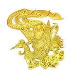 Золотой деревянный китайский изолированный лебедь Стоковые Изображения