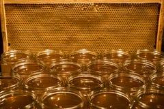 Золотой желтый мед в стеклянном опарнике на textspace рамки comp космоса экземпляра крупного плана деревянной доски пустом Стоковое фото RF