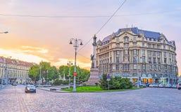Золотой заход солнца в Lvov Стоковые Фотографии RF