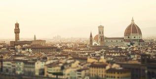 Золотой заход солнца Флоренса, Италии Стоковое Изображение RF