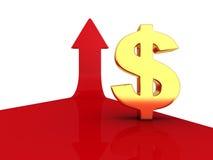 Золотой знак валюты доллара на красном цвете растя вверх стрелка Стоковая Фотография