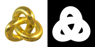 Золотой знак Gordian узла, отражение неба - символ золота изолированный на белой предпосылке стоковая фотография