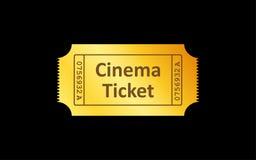 Золотой значок билета на черной предпосылке также вектор иллюстрации притяжки corel Стоковое Изображение
