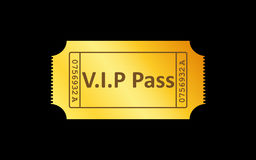 Золотой значок билета на черной предпосылке также вектор иллюстрации притяжки corel Стоковое Фото