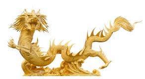 Золотой изолированный дракон Стоковые Изображения RF