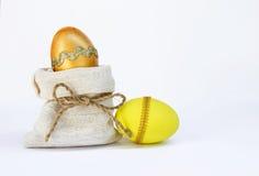 Золотой и желтый дизайн пасхального яйца Стоковые Изображения RF