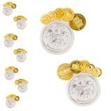 Золотой и серебряная монета формируя ноги Стоковые Изображения RF