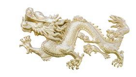 Золотой китайский дракон высекает предпосылку изолята белую с clippi Стоковые Фотографии RF