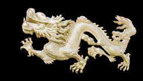 Золотой китайский дракон высекает предпосылку изолята черную с clippi Стоковые Фотографии RF