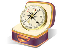 золотой компас в случае если Стоковое Фото