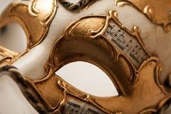 Золотой конец маски масленицы вверх Стоковые Фото