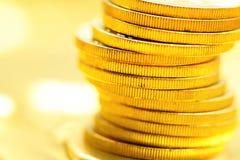 Золотой конец монетки вверх Стоковые Изображения RF