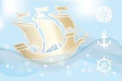 Золотой корабль Стоковые Фото