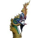 Золотой король статуи Naga на тайском виске Стоковое фото RF