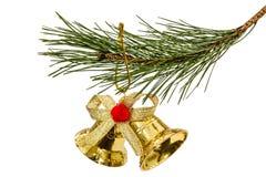 Золотой колокол рождества на елевой ветви, изолированной на задней части белизны Стоковые Фотографии RF
