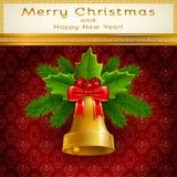 Золотой колокол рождества Стоковые Фотографии RF