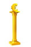 Золотой классический греческий столбец с знаком евро Стоковые Изображения RF