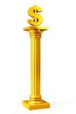 Золотой классический греческий столбец с знаком доллара Стоковое Изображение RF
