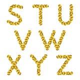 Золотой металлический алфавит sequins r Стоковая Фотография