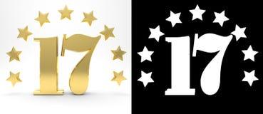 Золотой 17 на белой предпосылке при тень падения и канал альфы, украшенные с кругом звезд Стоковое Фото