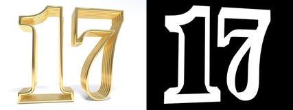 Золотой 17 на белой предпосылке с тенью падения и Стоковая Фотография RF