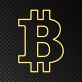 Золотой неоновый символ bitcoin на черной предпосылке Стоковые Изображения