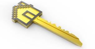 Золотой домашний ключ 3D Стоковое фото RF