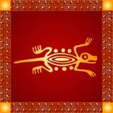 Золотой орнамент американских индейцев, ацтека и Майя стоковая фотография
