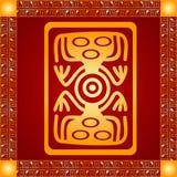 Золотой орнамент американских индейцев, ацтека и Майя стоковые фото