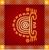 Золотой орнамент американских индейцев, ацтека и Майя стоковое фото rf