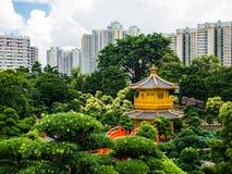 Золотой павильон абсолютного совершенства в саде Nan Lian в хие стоковые фото